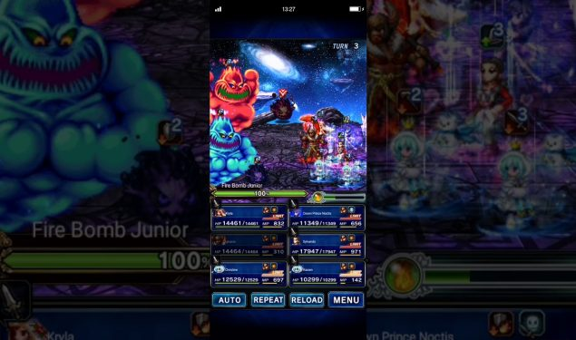 [FFBE] Christine & Noctis vs Scorn of Great Explosion Festival – 5 turns, all missions (gear 07:38)