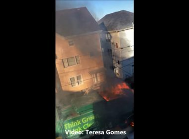 Recycling truck explosion in Fall River, Massachusetts